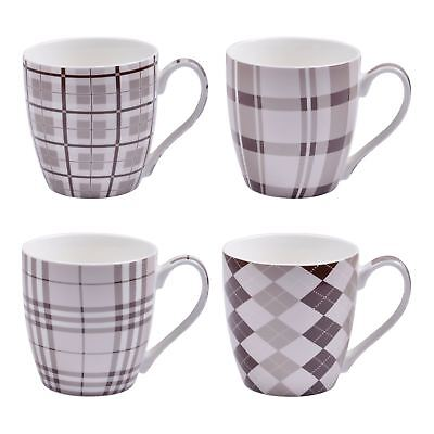 Set of 4 Pink And Grey Checked Mugs Pattern Tea Coffee Hot Chocolate Stoneware
