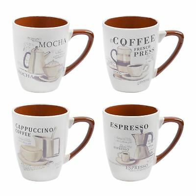 Set of 4 Speciality Coffee Mugs Stoneware Kitchen Mocha Espresso Cappuccino