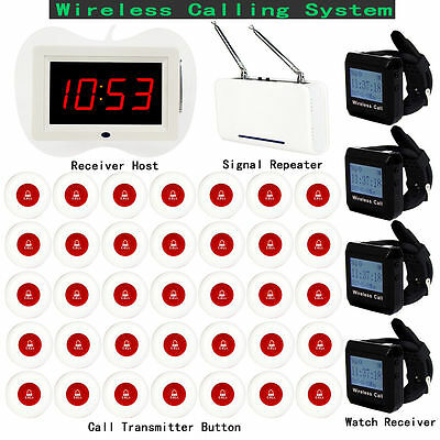 Wireless Calling System 1* Host +4*Receiver +1* Signal Repeater+35* Call Button