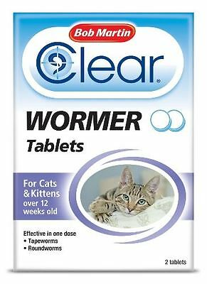 Bob Martin - Clear 2-in-1 Wormer Tablets for Cats & Kittens x 2 Tablets