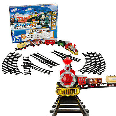 NEW 16 Pieces Looping Rocky Mountain Train Toy Set Build Vivid Sounds / Lights
