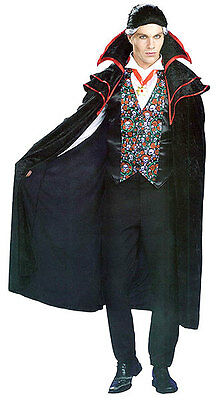 Mens Dracula Vampire Black Red Costume & Cape Halloween Fancy Dress Outfit M/l