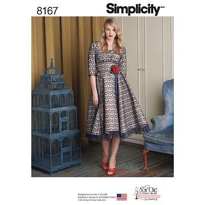 SIMPLICITY SEWING PATTERN MISSES SEW CHIC RETRO LOOK 50s DRESS SIZE 4 TO 20