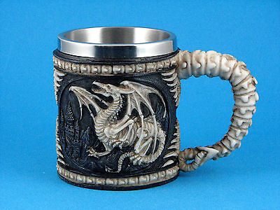 Gothic Medieval Skull & Bones Dragon Mug / Cup - New in Box