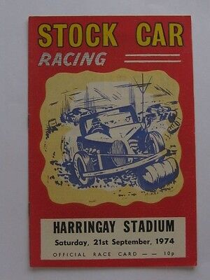 Stock Car Racing Harringay Stadium 21st Sep.1974 Programme