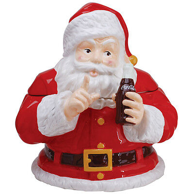 NEW Coca-Cola Santa Claus Keep a Secret Contour Coke Bottle Ceramic Cookie Jar