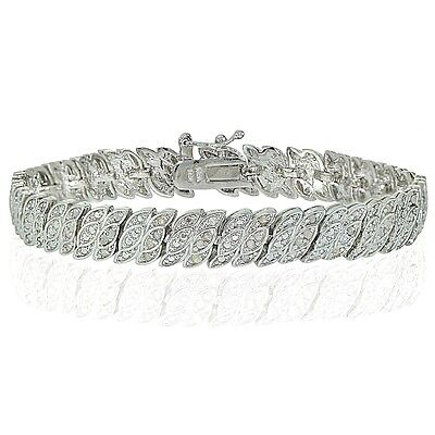 1.00ct Natural Diamond Leaf Tennis Bracelet in Gold, Rose or Silver Plated Brass