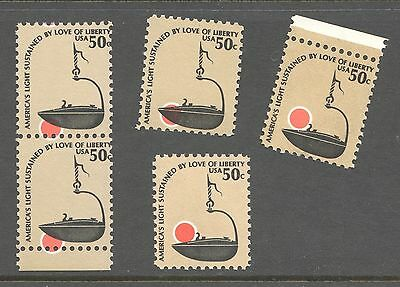 #1608 Group Of 5 Efo Errors Color Shift Iron Betty Lamp 50C Mnh