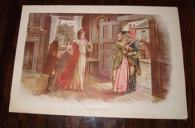 Antique Lithograph - For Love and the Colonies - Revolutionary War Soldier 1898