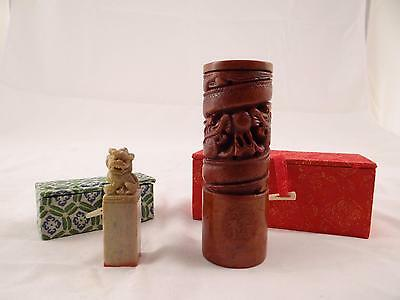 """PAIR OF VINTAGE CHINES STONE STAMPS """"FISHER"""" w/ FOO LION AND DRAGON CARVINGS"""