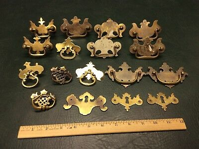 Mixed Lot of 17 Vintage Solid Brass Chippendale Escutcheons Drawer Chest Pulls