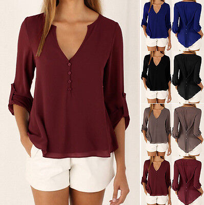 Women's Ladies Casual Loose Chiffon Long Sleeve Blouse Tops T-Shirt S- XXXXL
