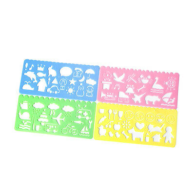 4x Plastic Animals Vehicles Instruments Stencil Set For Kids Gift Art Painting