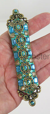 MICHAL GOLAN GREEN ANTIQUED GOLD MEZUZAH Glass Cabochons with Prayer Scroll