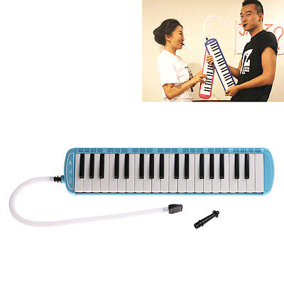 37 Keys Melodica Piano Keyboard Mouthpiece Music Instrument + Bag Blue New
