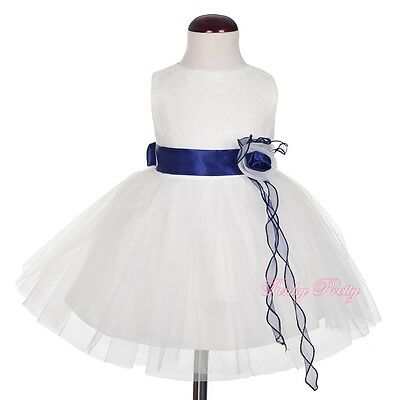 Lace Rosette Tulle Party Wedding Bridesmaid Flower Girl Dresses Size 6M-4Y FG366