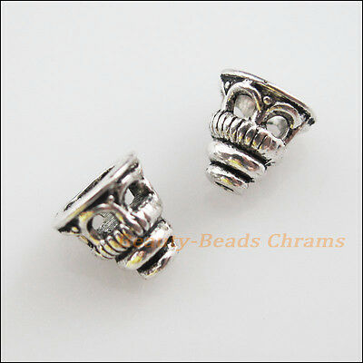 25 New Charms Tibetan Silver Tone Tiny Hollow Cone End Bead Caps 7.5mm
