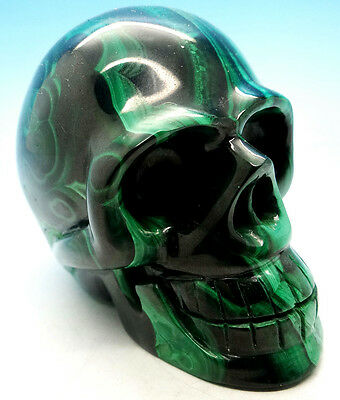 "Gorgeous 3.2"" Natural Green Malachite Skull Carving Gemstone"