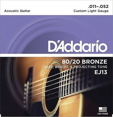 D'Addario EJ13 Acoustic 80/20 Bronze Guitar Strings - Custom Light