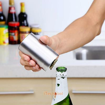 Stainless Steel Automatic Bottle Opener Beer Soda Cap Wine Bar Push Openner