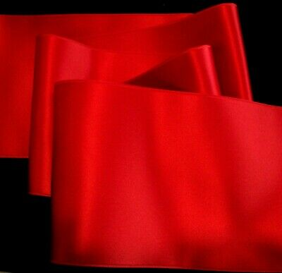"""4"""" Wide Swiss Double Face Satin Ribbon - True Red"""