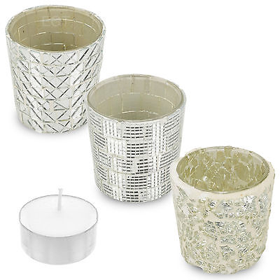 3 x Glass Mosaic Yankee Village Candle Tealight Holder Table Centrepiece Wedding
