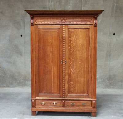 768 : Large Antique Rustic Oak French Renaissance Armoire Wardrobe Cabinet