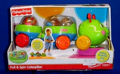 Fisher Price Roll-A-Rounds Pull & Spin Caterpillar Popping Toy Ages 12 M + A271