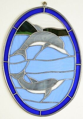 HAND CRAFT LEAD LEADED STAINED GLASS Ocean Dolphin WINDOW Decor ~ 13.5""