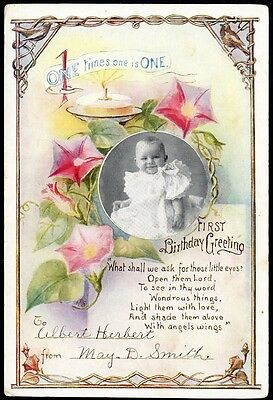 FIRST BIRTHDAY GREETING Card c 1900 - Pretty Baby Large Card