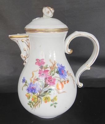 Meissen Porcelain Coffee Pot Handpainted with Flowers with Moulded Flower c 1900
