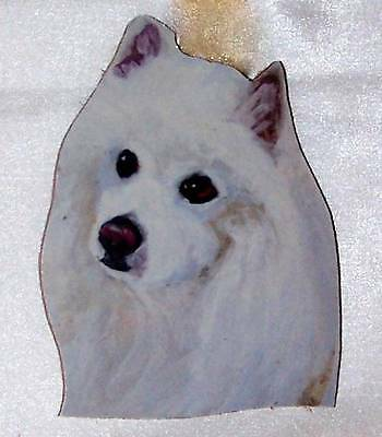 "American Eskimo Dog Hand Made Painted Wood Wall Hanging Gift 6"" Original"