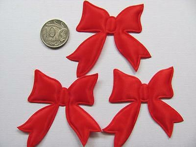 BB BIG RED SATIN BOW  pk of 8 christmas embellishment applique padded 50 x 62mm