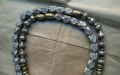 Fulani Old Antique Medium Brass In Silver Square Bicone Metal Beads- Trade Beads