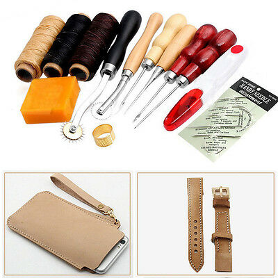 13X Leather Craft Punch Tool Stitching Carving Working Sewing Saddle Groover Kit