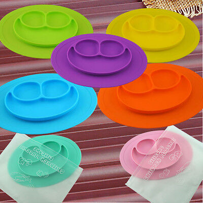 Non-Slip with 3 Built-In Dividers Silicone Baby Plate & Placemat Feeding Dishes