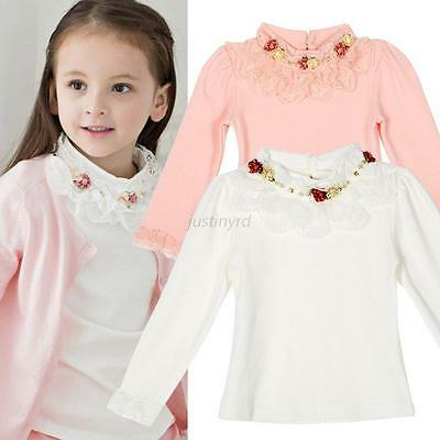 Toddler Kids Baby Girl Clothes Long Sleeve Princess Lace Bow Top T-Shirt Blouse