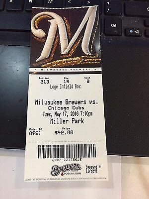 2016 Milwaukee Brewers Vs Chicago Cubs Ticket Stub 5/17 Kris Bryant Hr #33