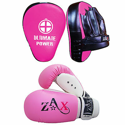 Ladies Boxing Gloves and Focus Pads Set Training Punching Boxing Pads Hook Jab