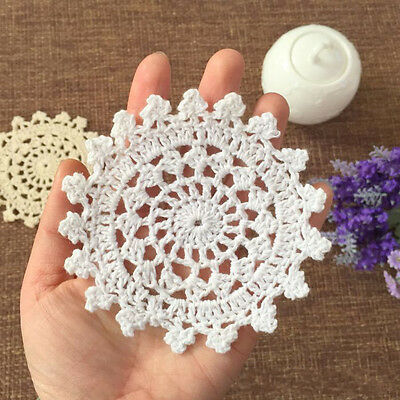 4PCS White Vintage Bulk Lace Linen Cotton Crochet Doilies Home Table Decor