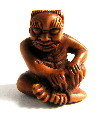 "YJ384 - 1"" Hand Carved Boxwood Ojime Carving Figurine: Oni Monster"