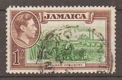 """JAMAICA SG130a 1938 1/= """"REPAIRED CHIMNEY"""" VARIETY USED"""