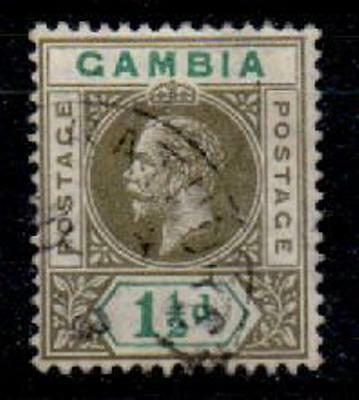 GAMBIA SG88a 1912 1½d OLIVE-GREEN & BLUE-GREEN SPLIT A VARIETY USED