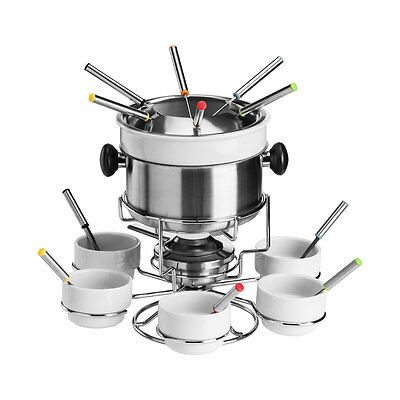 Fondue Set Serves 6 Stainless Steel Porcelain For Functions Parties Home Dining