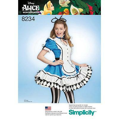 Simplicity Sewing Pattern Alice In Wonderland Misses'costumes Cosplay 6-22 8234