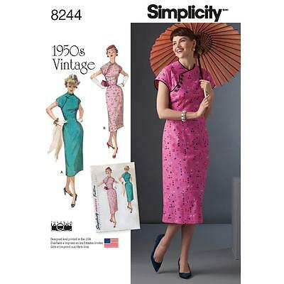 SIMPLICITY SEWING PATTERN MISSES 1950s VINTAGE DRESS SIZE 5 - 22 8244