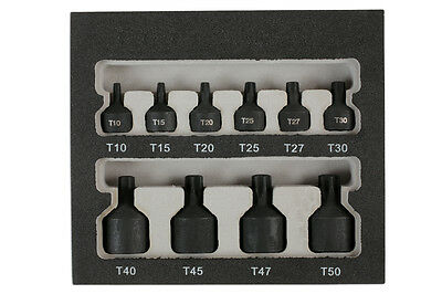 "Low Profile Short Impact Torx Star Socket Bit Set T-10   T50 On 1/4"" 3/8"" Drive"