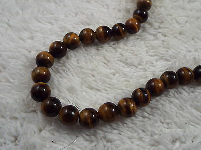 Sterling Silver Chain Clasp Tiger's Eye Stone Bead Necklace (D61)