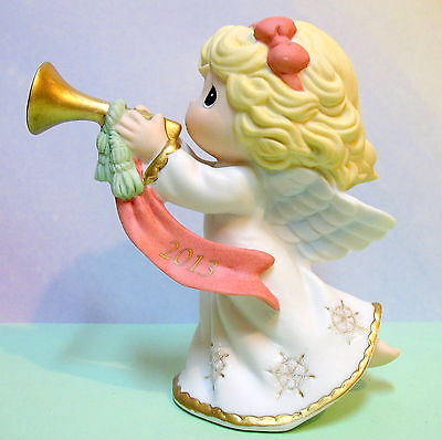 PRECIOUS MOMENTS DATED 2013 GIRL w/ HORN FIGURINE ~ 131001 ~PEACE ON EARTH ~NEW