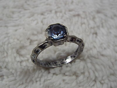 Medieval-Style Hammered Silvertone Blue Faux Rhinestone Ring - Size 8.5 (C43)